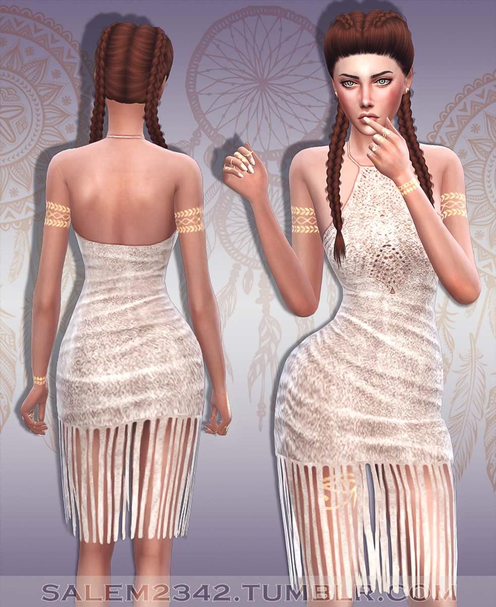 Платье - Suede Fringe Dress
