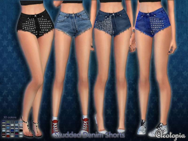 Шорты - Studded Denim Shorts