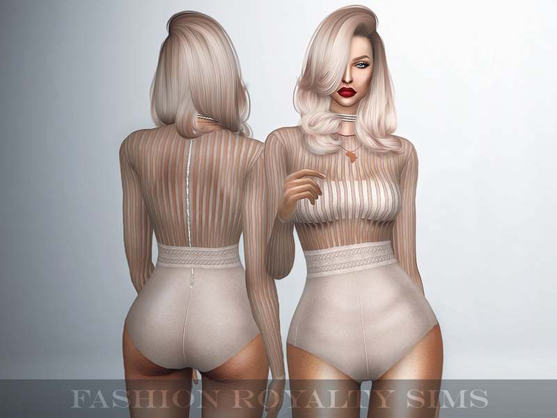 Боди - Long Sleeve Striped Bodysuit with Belt