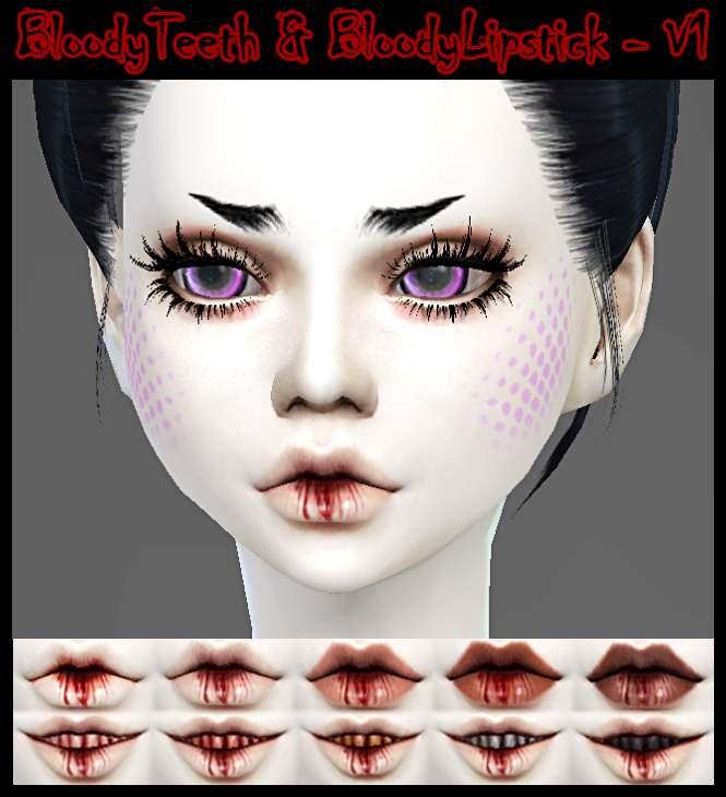 Кровавая помада + зубы - BLOODY LIPSTICK & BLOODY TEETH *V1
