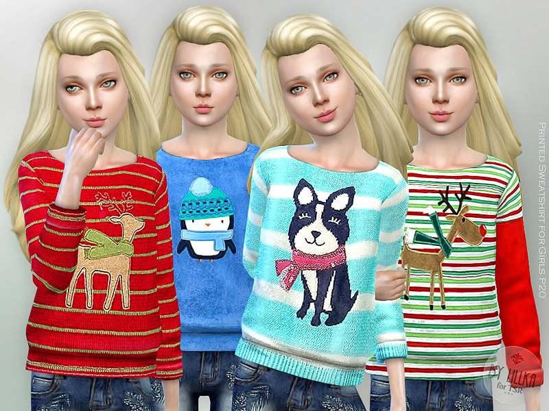 Свитер - Printed Sweatshirt for Girls P20