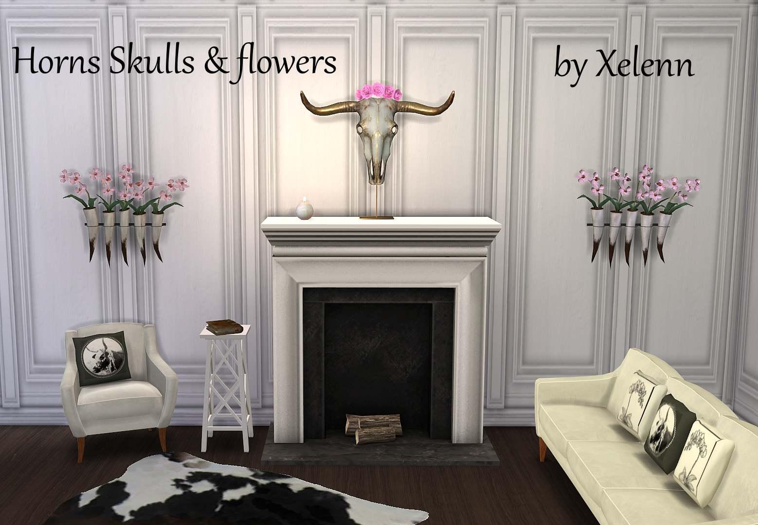 Набор декоративных объектов - Horns Skulls & Flowers