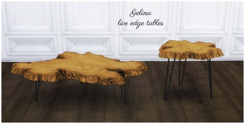 Комплект декоративных столиков - Gelina live edge tables