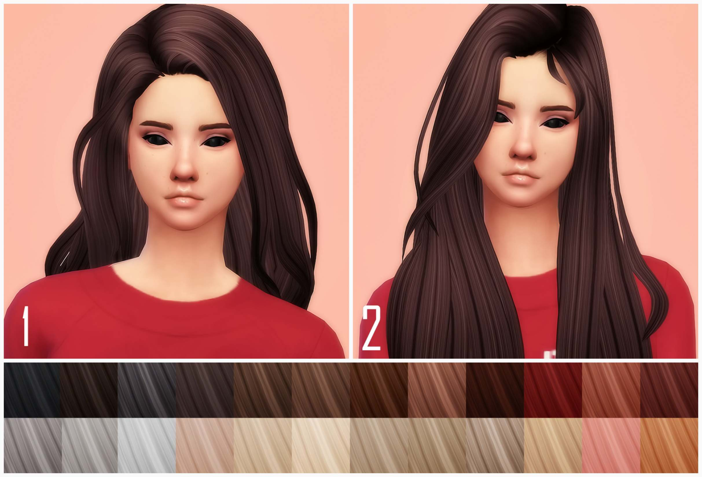 Набор причесок - HallowSims hairs clayified & recolored part 3