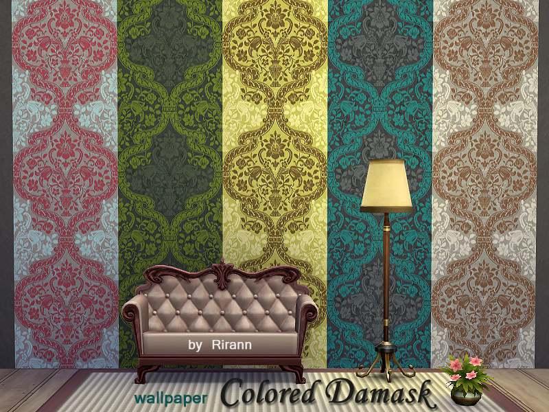 Обои - Colored Damask Wallpaper