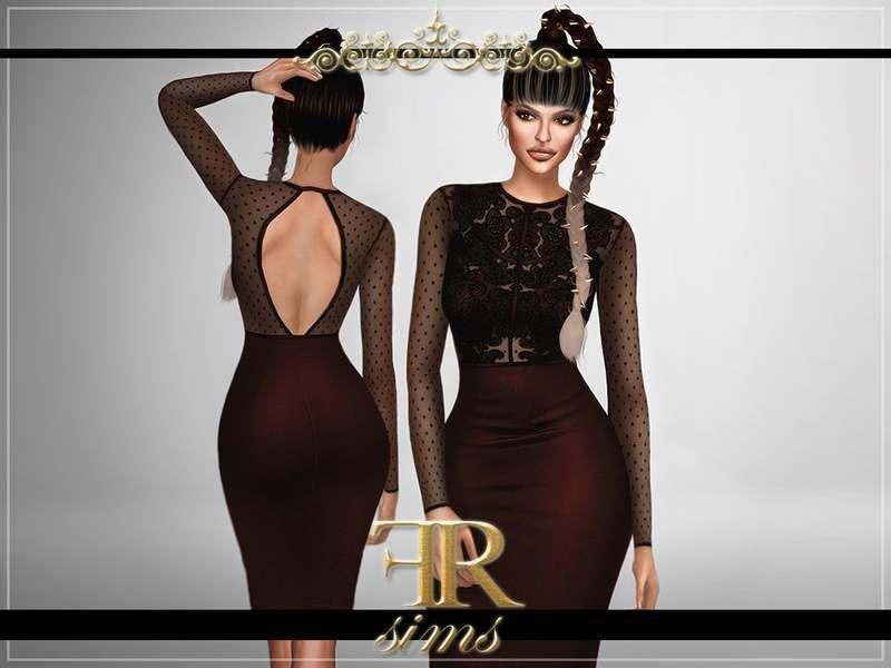 Платье - Lace Panel Bodycon Midi Dress