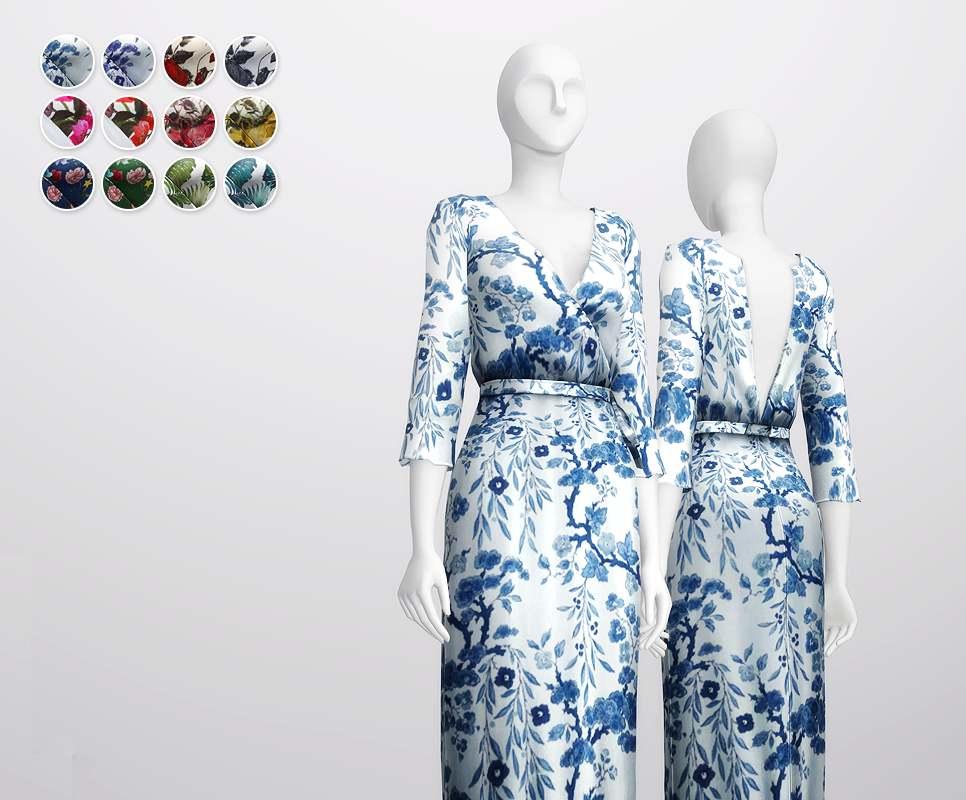 Платье - Floral-effect Wrap Robe Dress