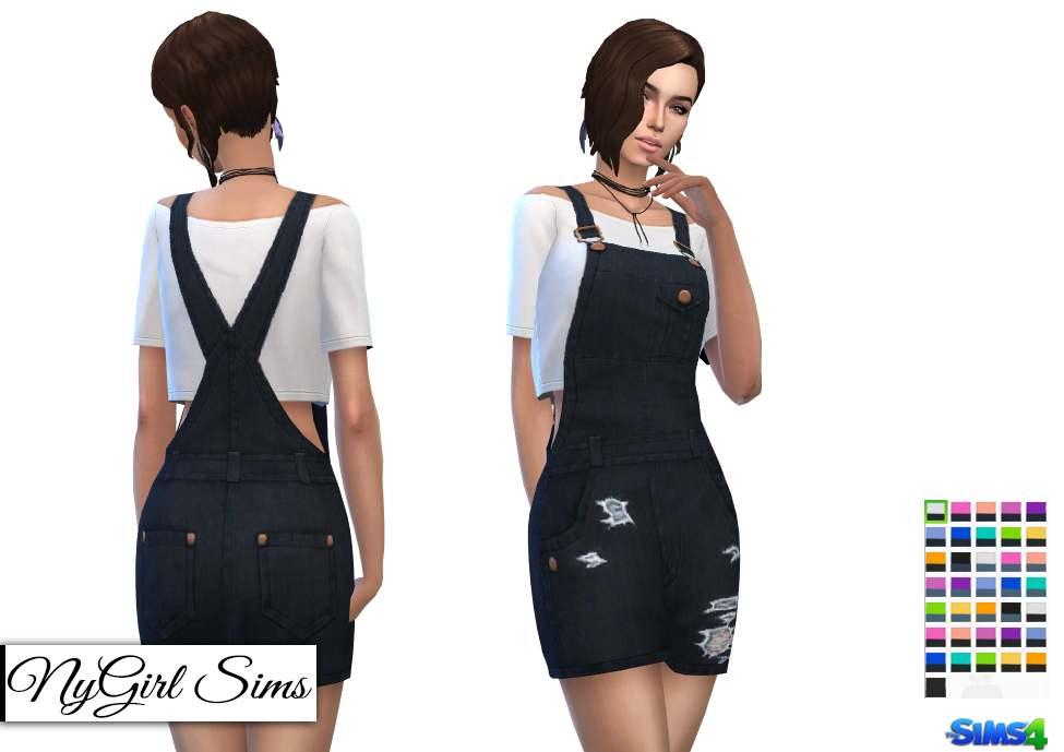 Комплект - Overall Mini Dress with Crop Tee