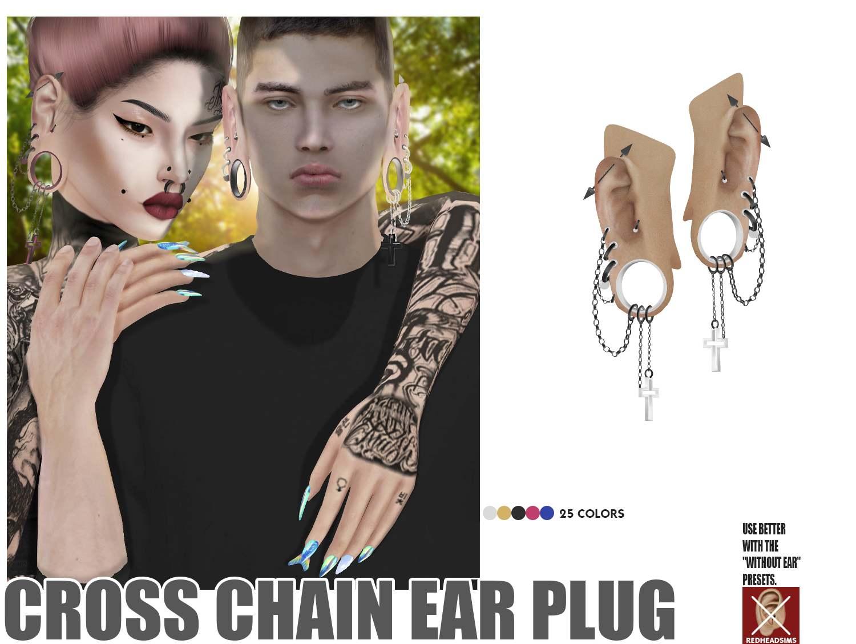 Пирсинг сет - CROSS CHAIN EAR PLUG
