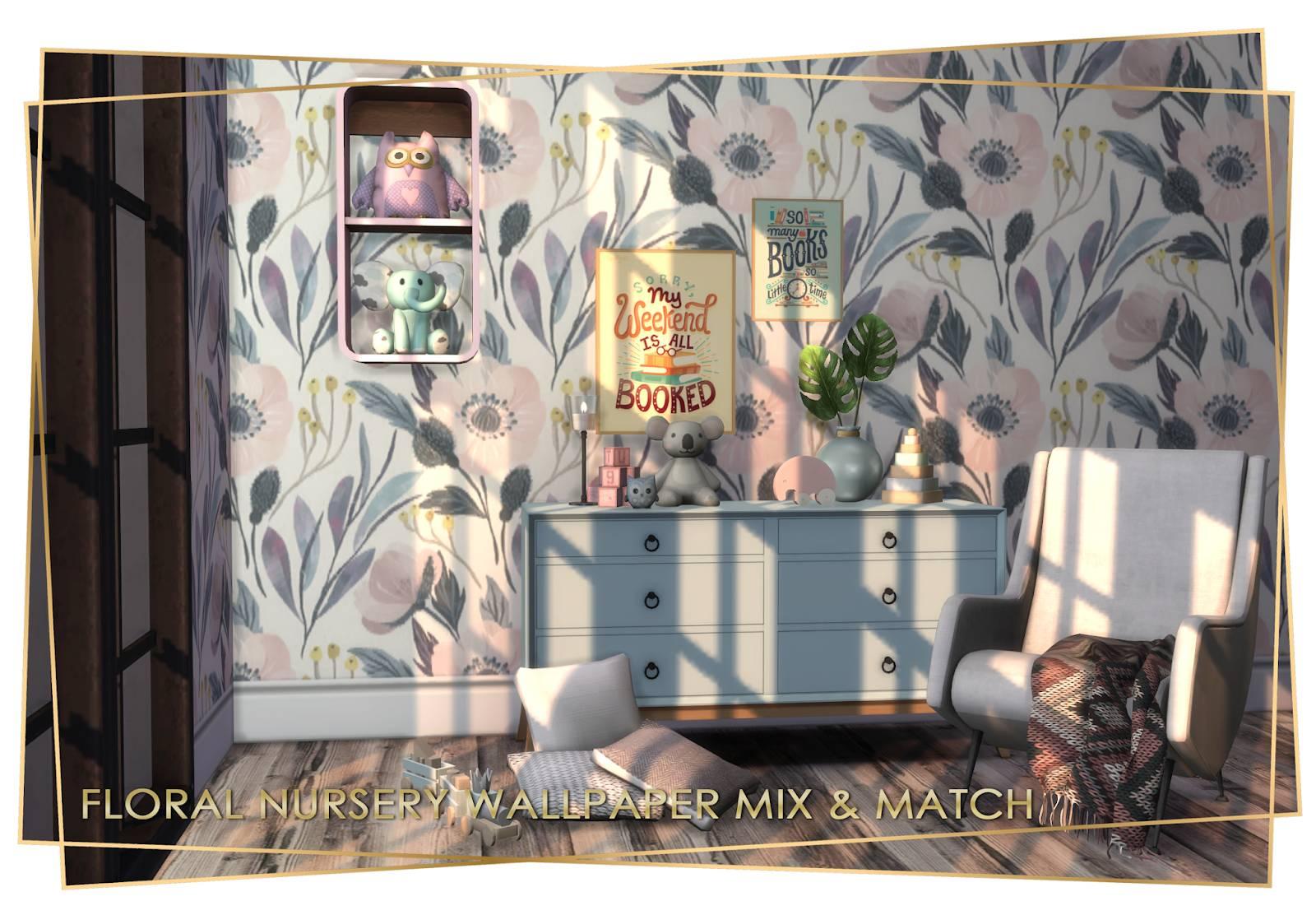 Набор настенных покрытий - Floral Nursery Wallpaper Mix & Match