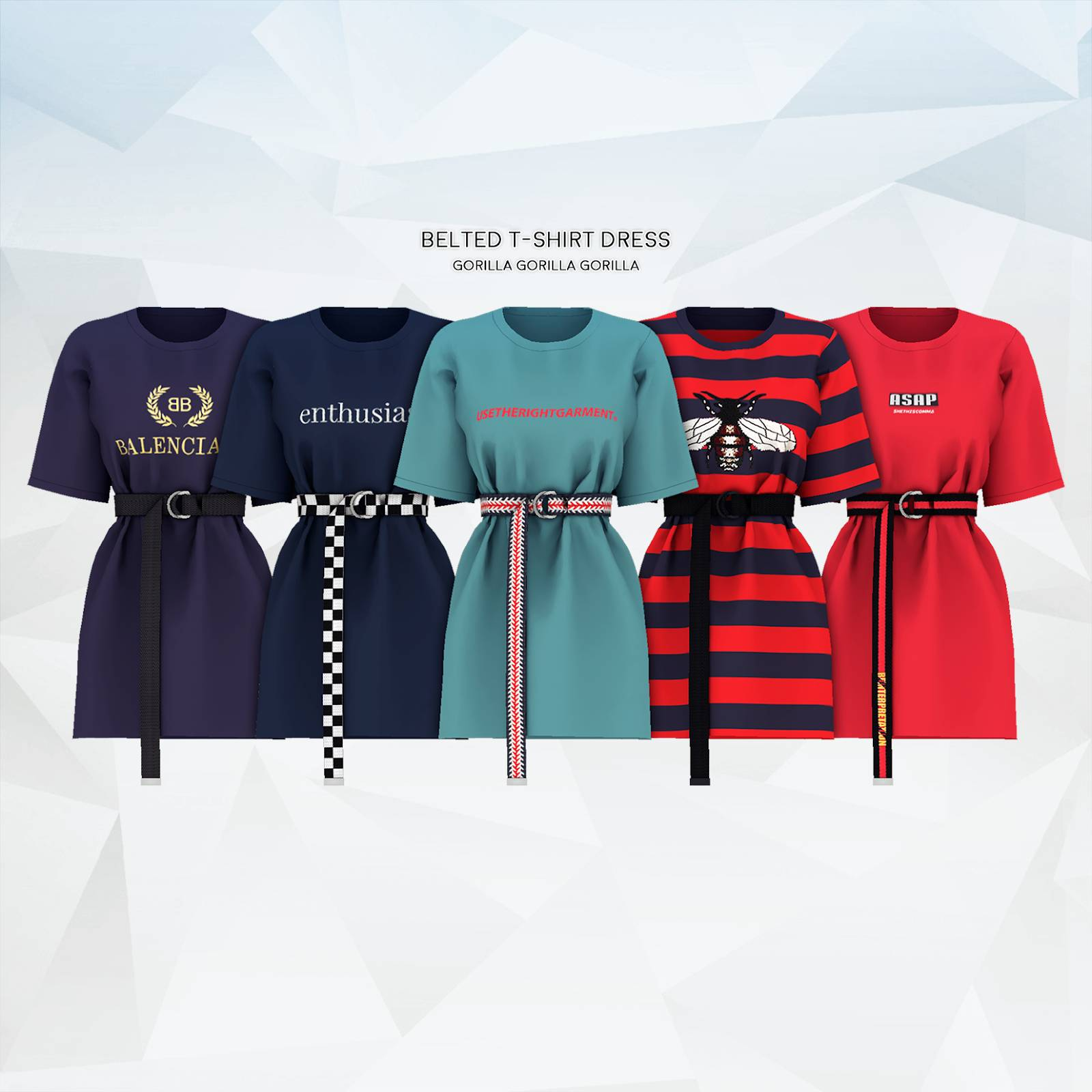 Платье - Belted T-Shirt Dress