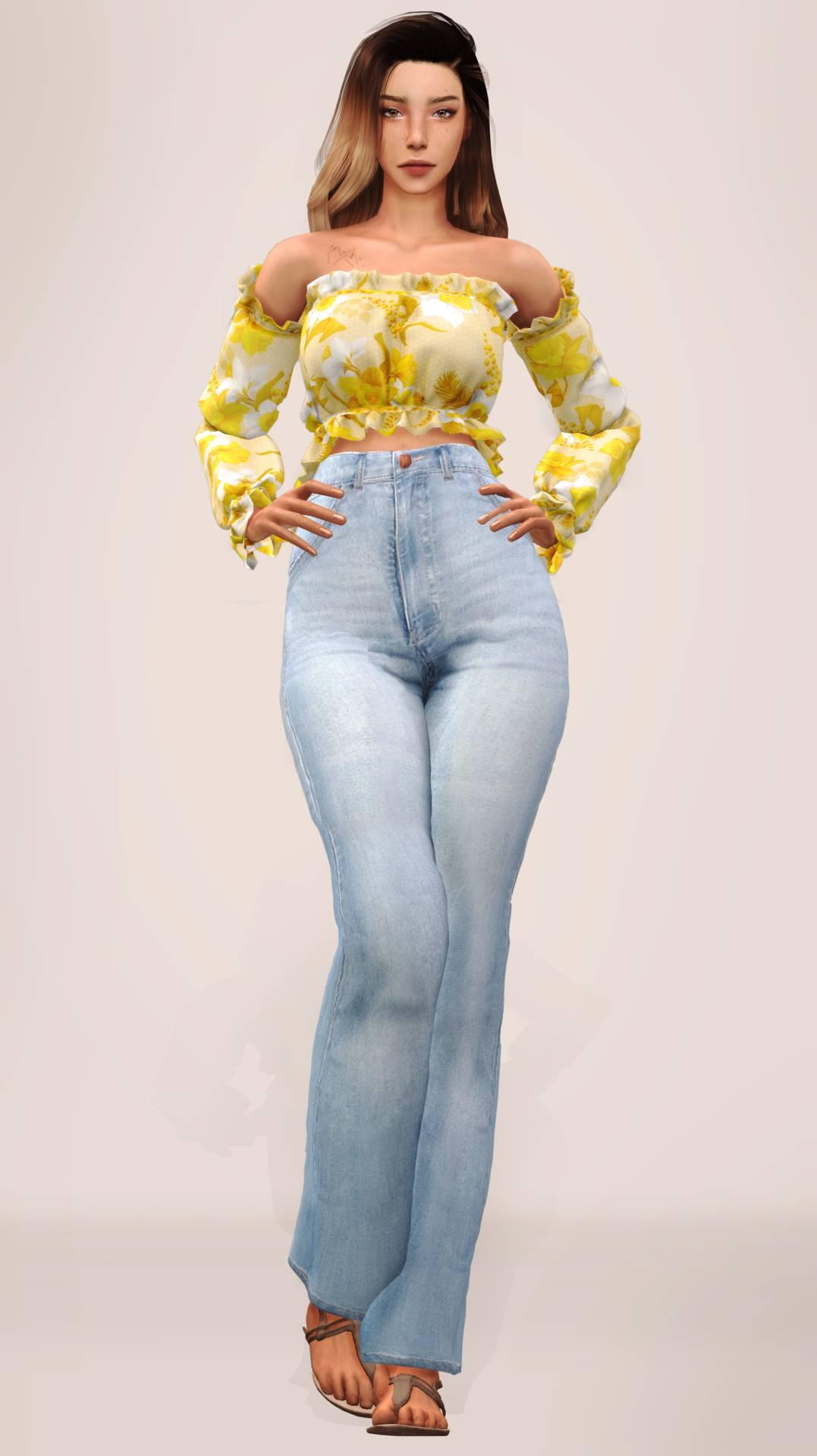 Топ и джинсы - Summer Waist Top & High Waist Wide Jeans