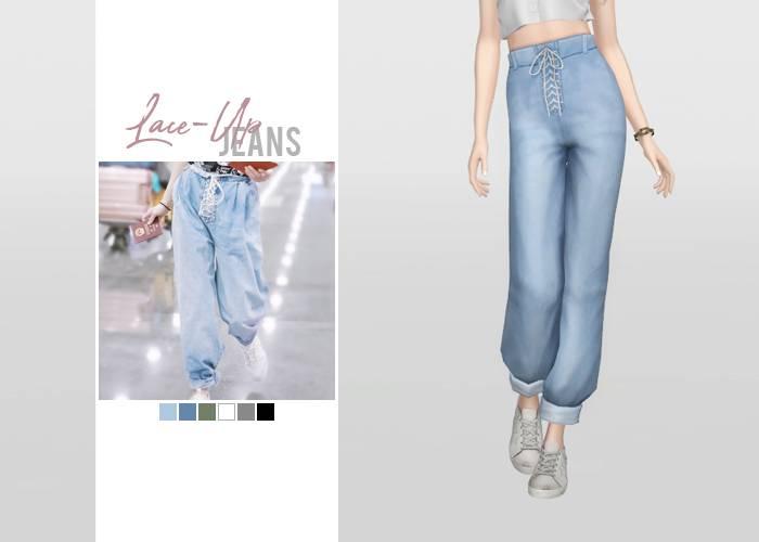 Джинсы - Lace-Up Jeans
