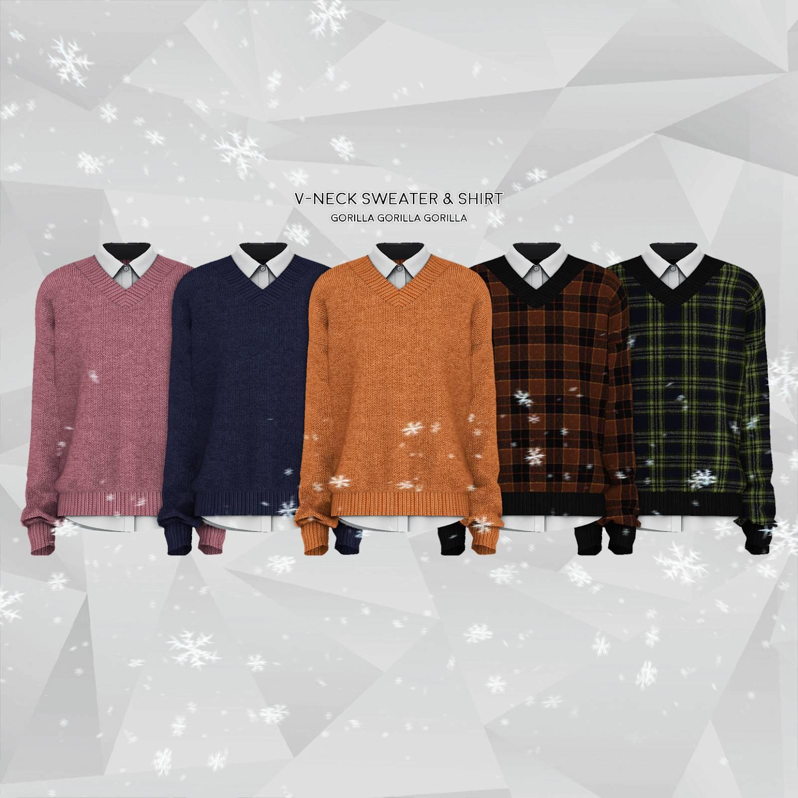 Джемпер и рубашка - V-Neck Sweater & Shirt