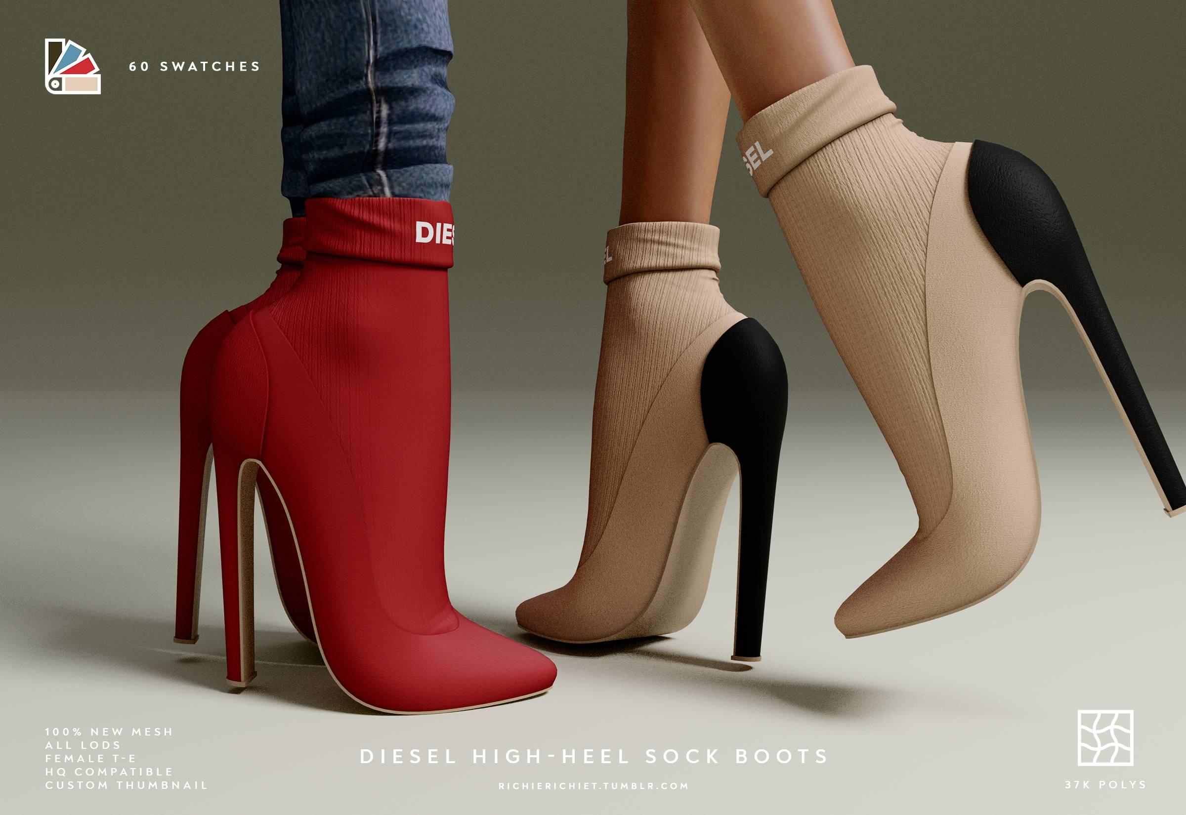 Туфли - Diesel High-Heel Sock Boots