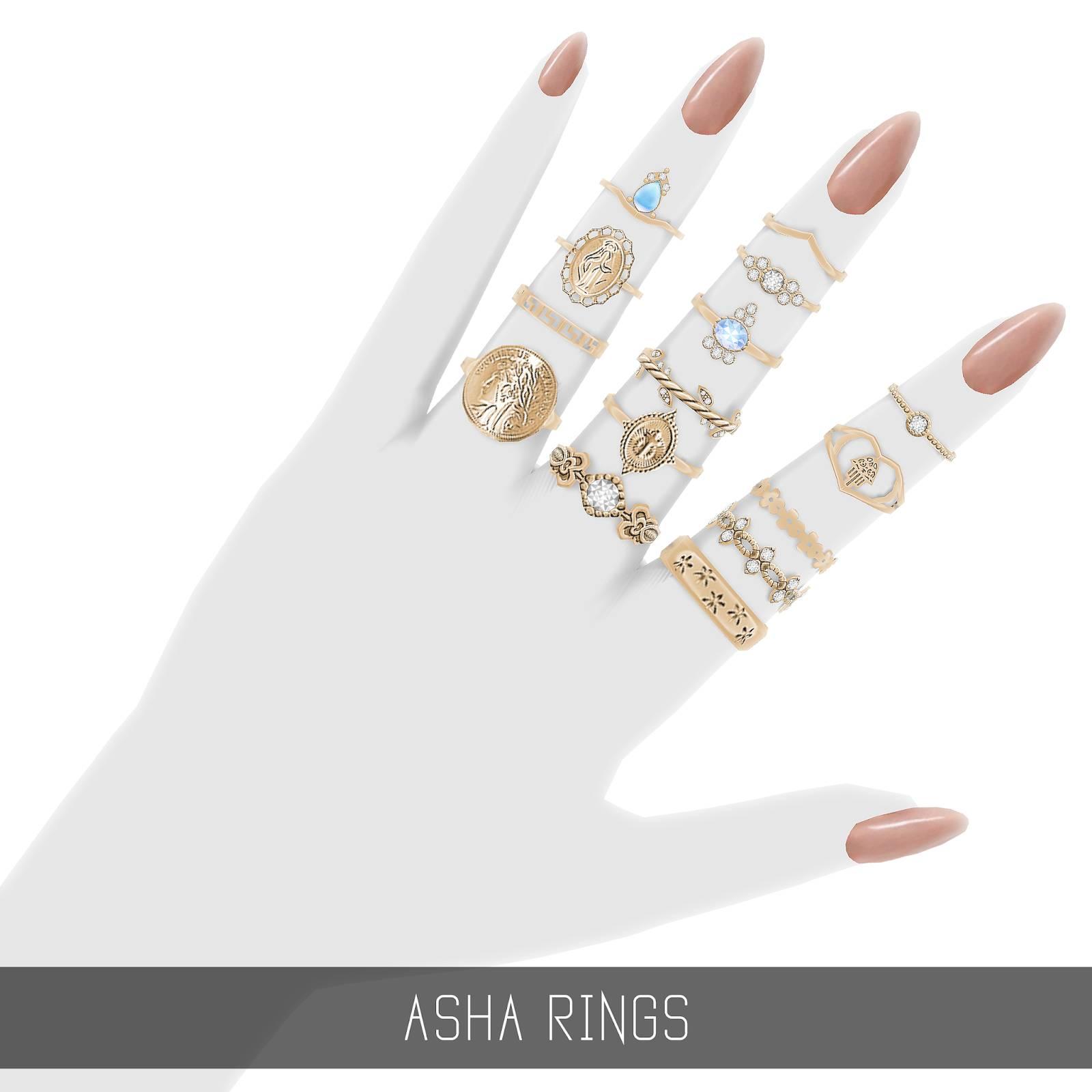 Комплект колец - ASHA RINGS