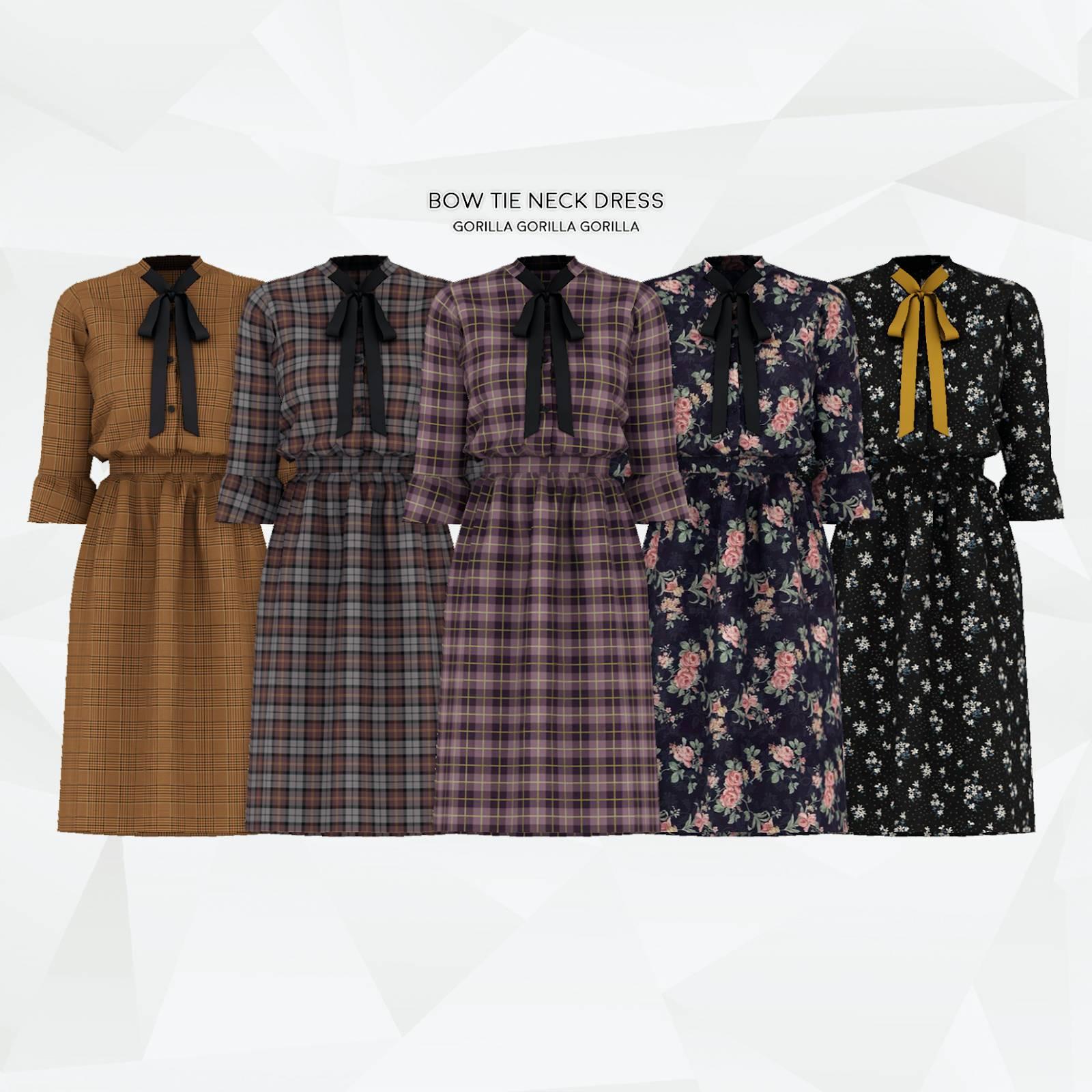 Платье - Bow Tie Neck Dress