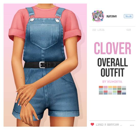 Комбинезон и футболка - CLOVER OVERALLS OUTFIT
