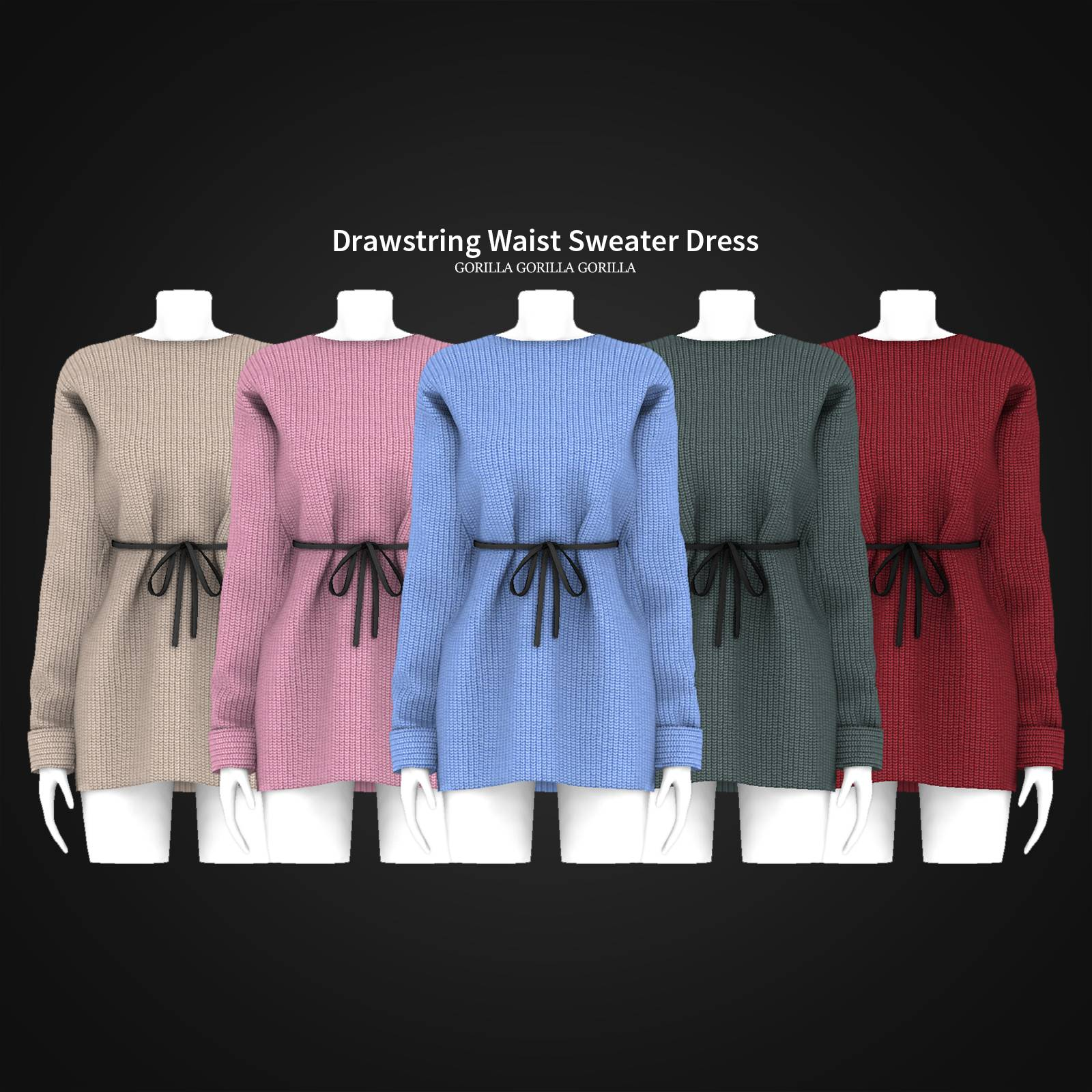 Платье - Drawstring Waist Sweater Dress