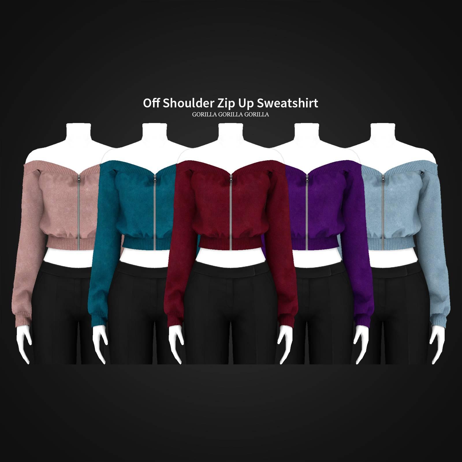 Кофта - Off Shoulder Zip Up Sweatshirt