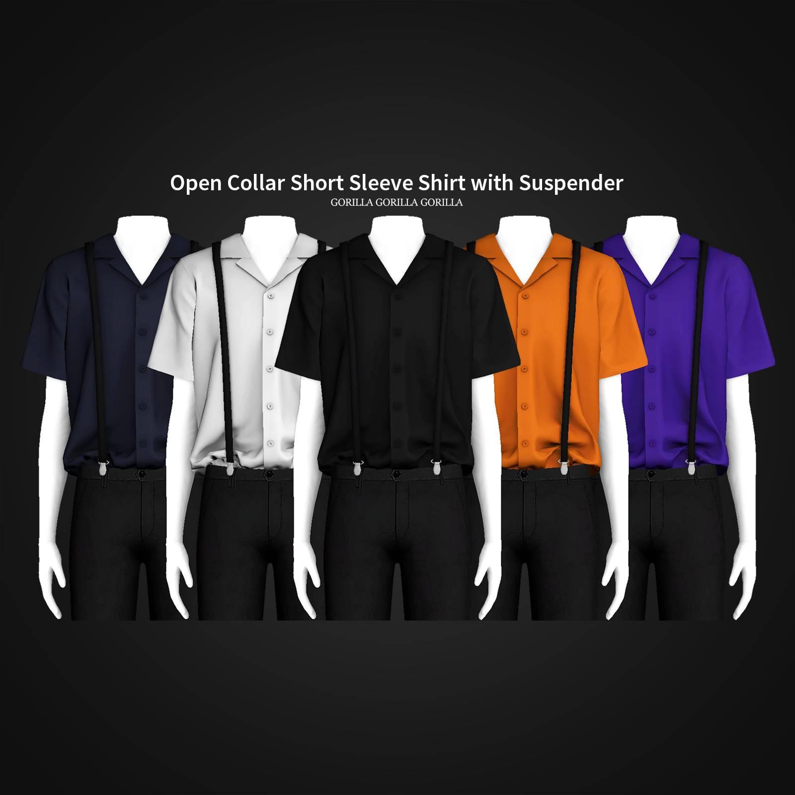 Рубашка - Open Collar Short Sleeve Shirt with Suspender