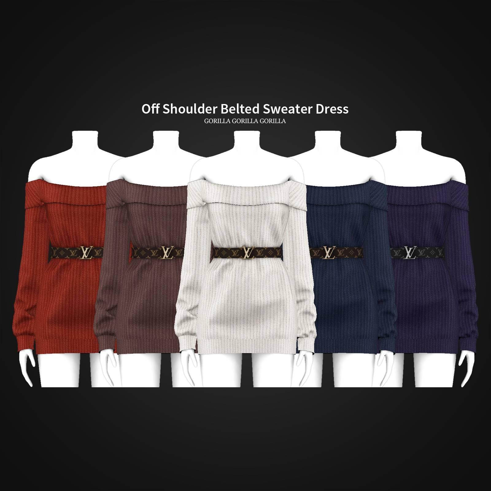 Платье - Off Shoulder Belted Sweater Dress
