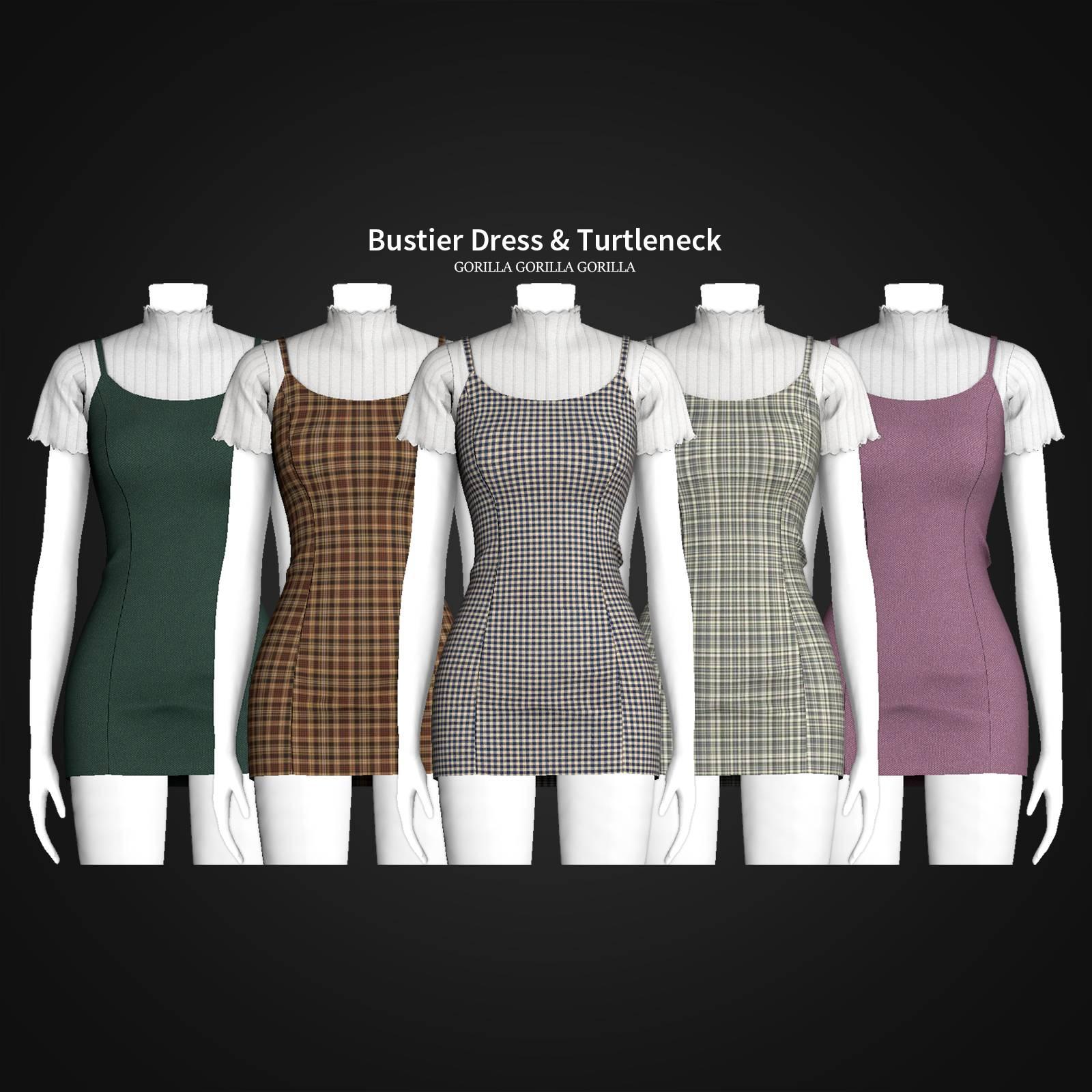 Водолазка и платье - Bustier Dress & Turtleneck
