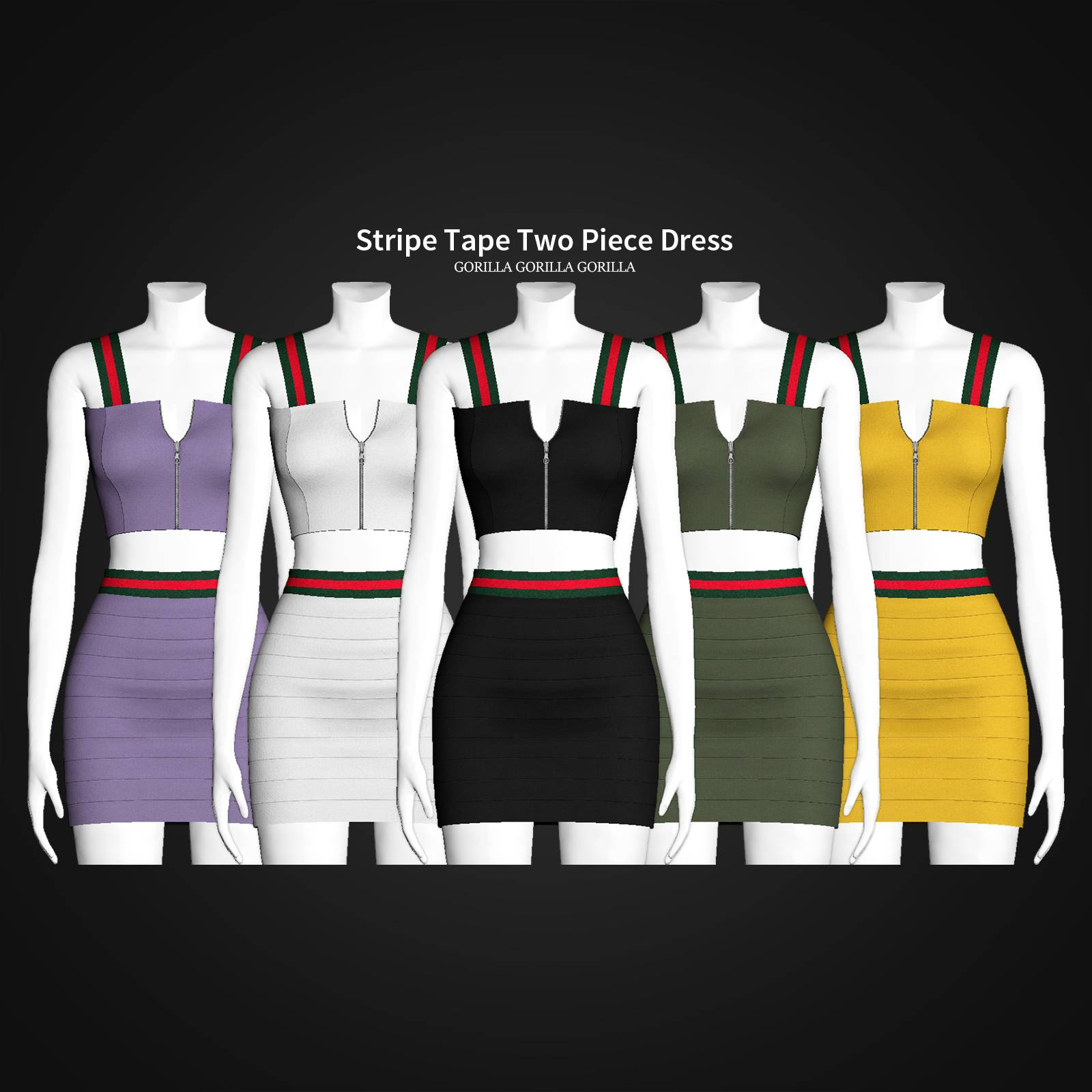Топ и юбка - Stripe Tape Two Piece Dress