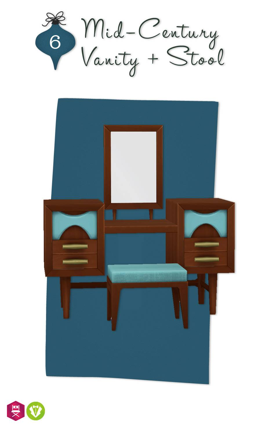 Туалетный столик - Mid-Century Vanity + Stool
