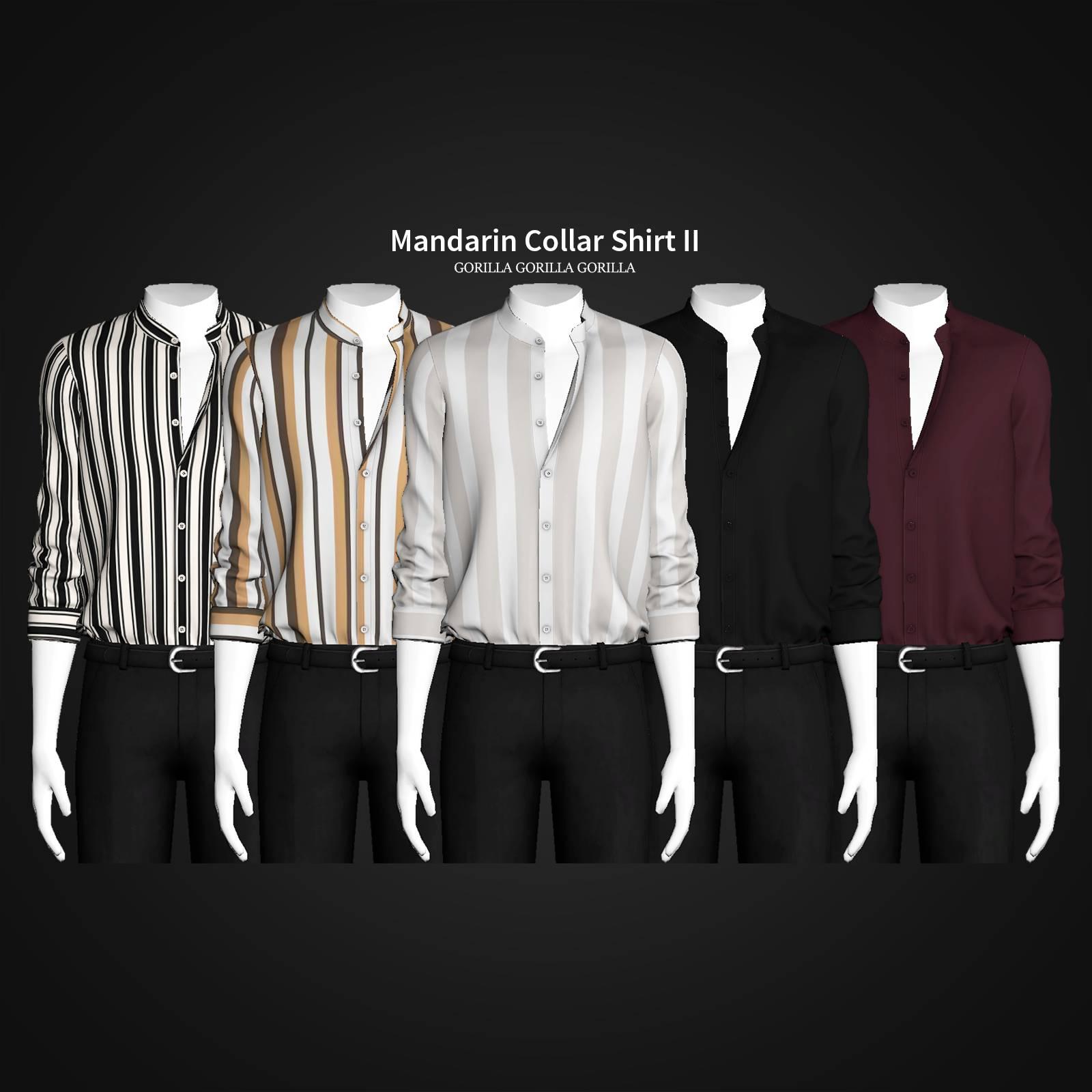 Мужская рубашка - Mandarin Collar Shirt II