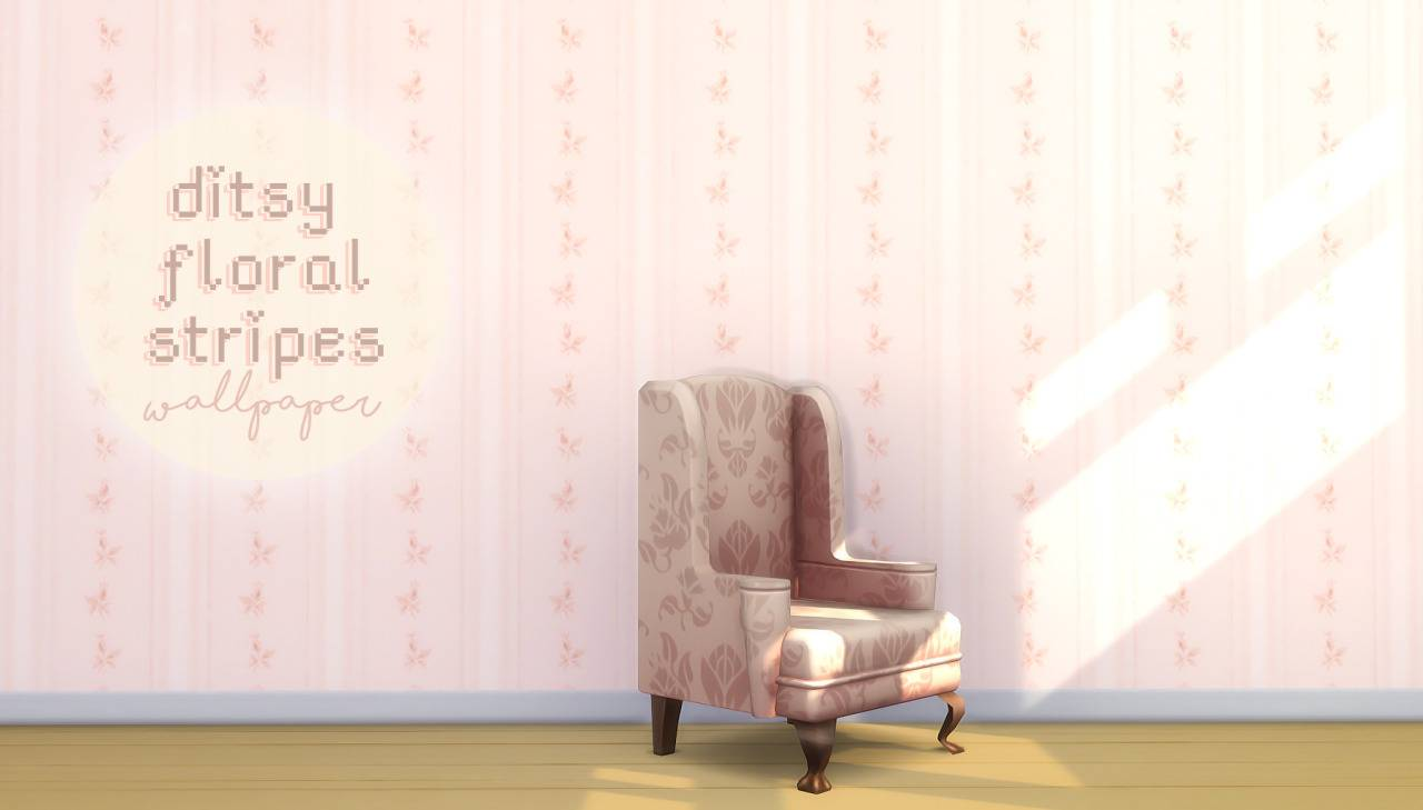 Обои - Ditsy Floral Stripes Wallpaper