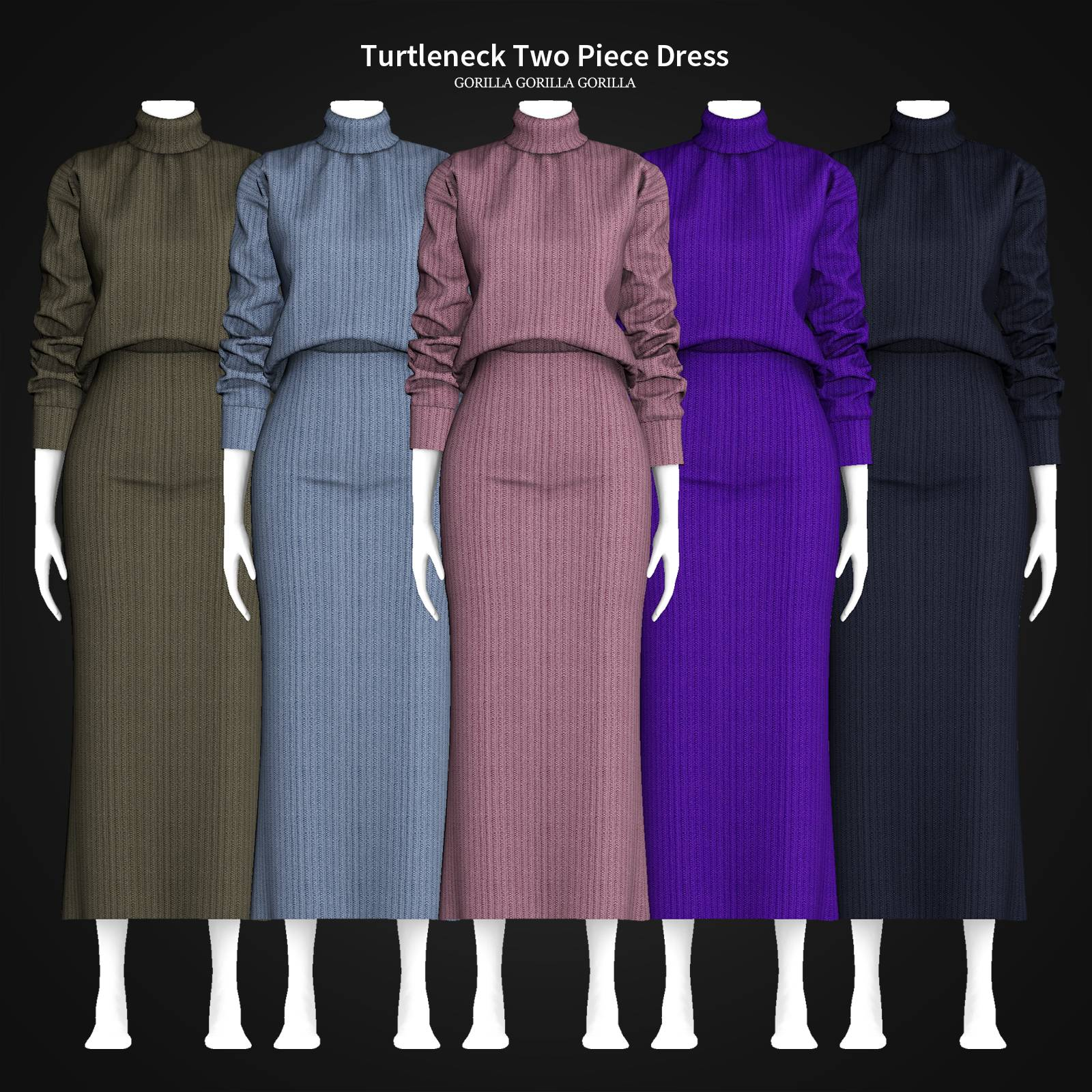 Кофта и юбка - Turtleneck Two Piece Dress