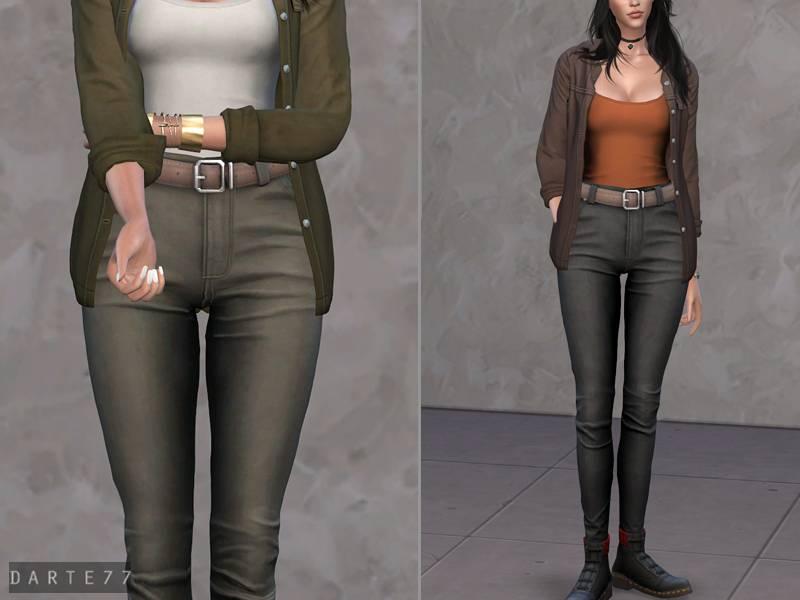 Женские джинсы - Belted High-Rise Jeans