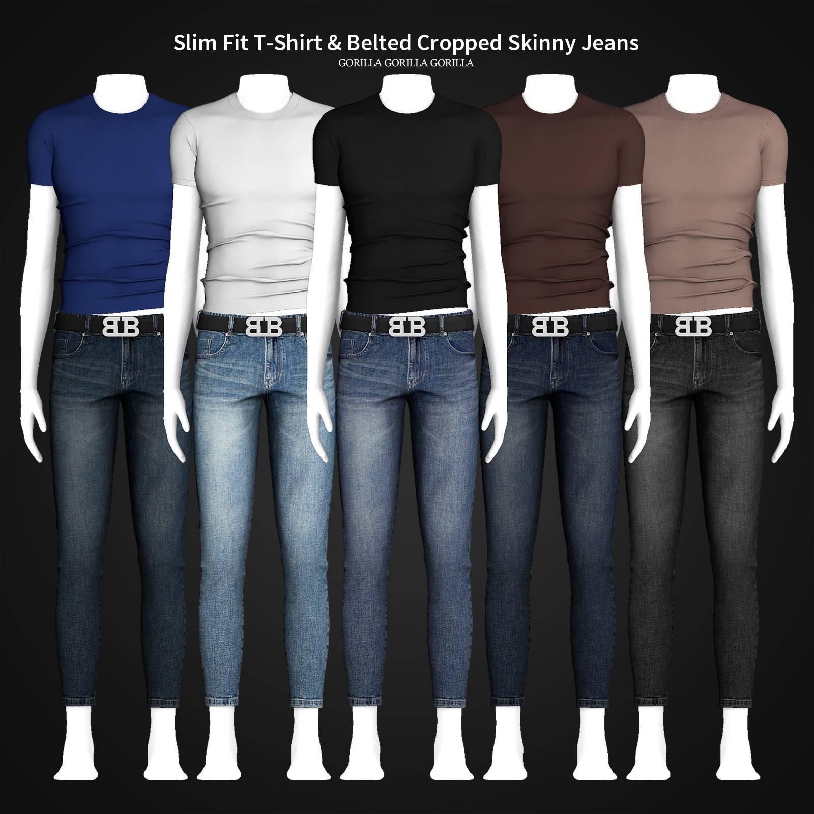 Футболка и джинсы - Slim Fit T-Shirt & Belted Cropped Skinny Jeans