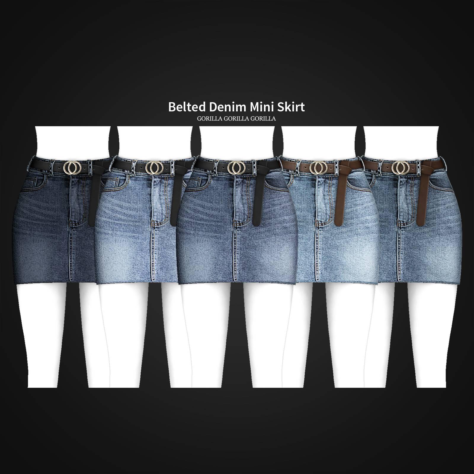 Юбка - Belted Denim Mini Skirt