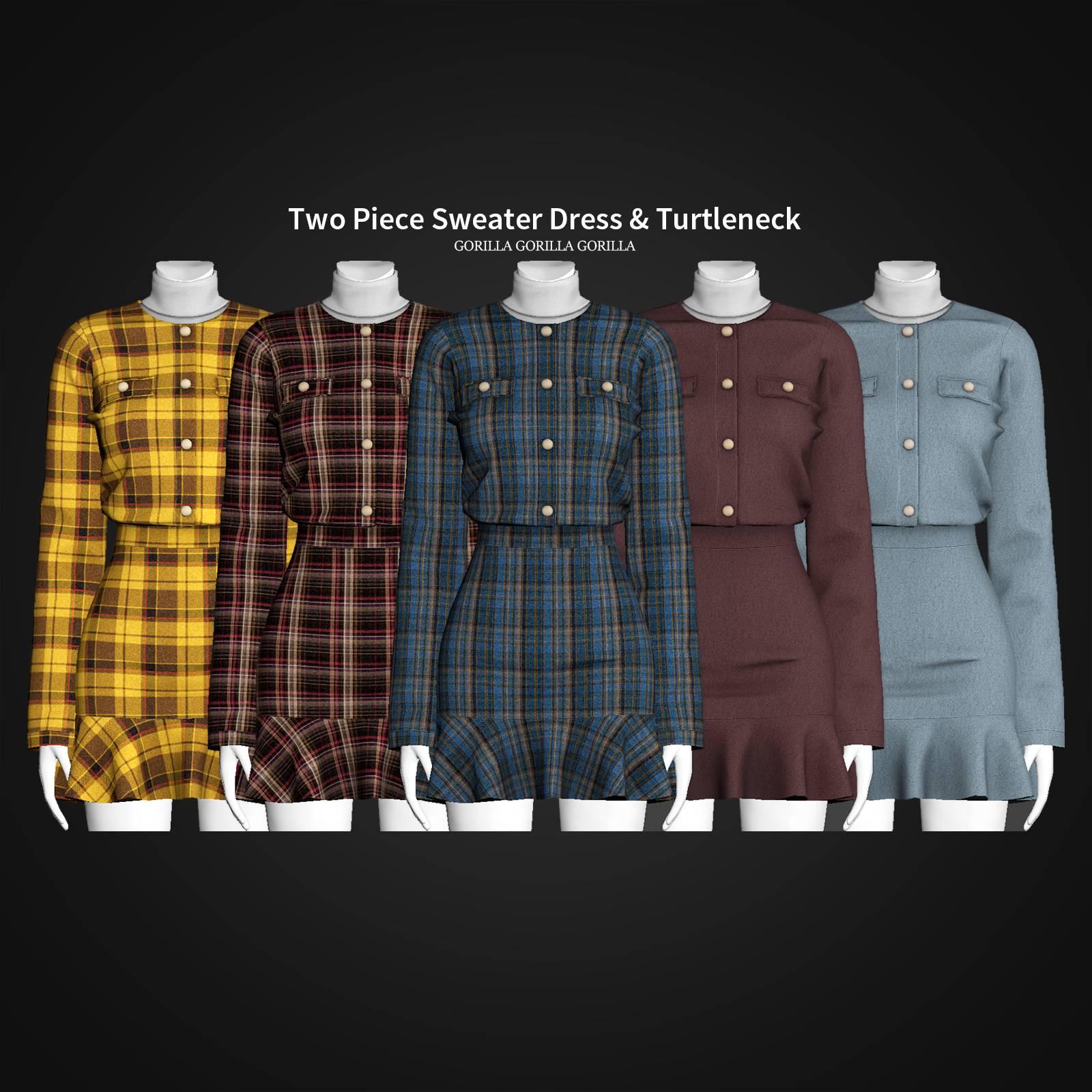 Жакет и юбка - Two Piece Sweater Dress & Turtleneck