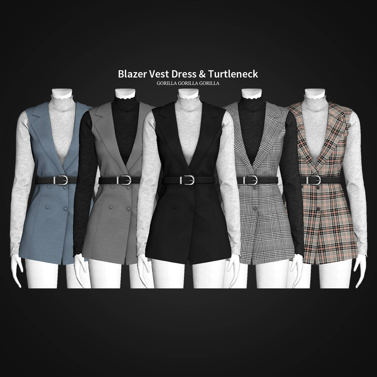 Жилет и водолазка - Blazer Vest Dress & Turtleneck