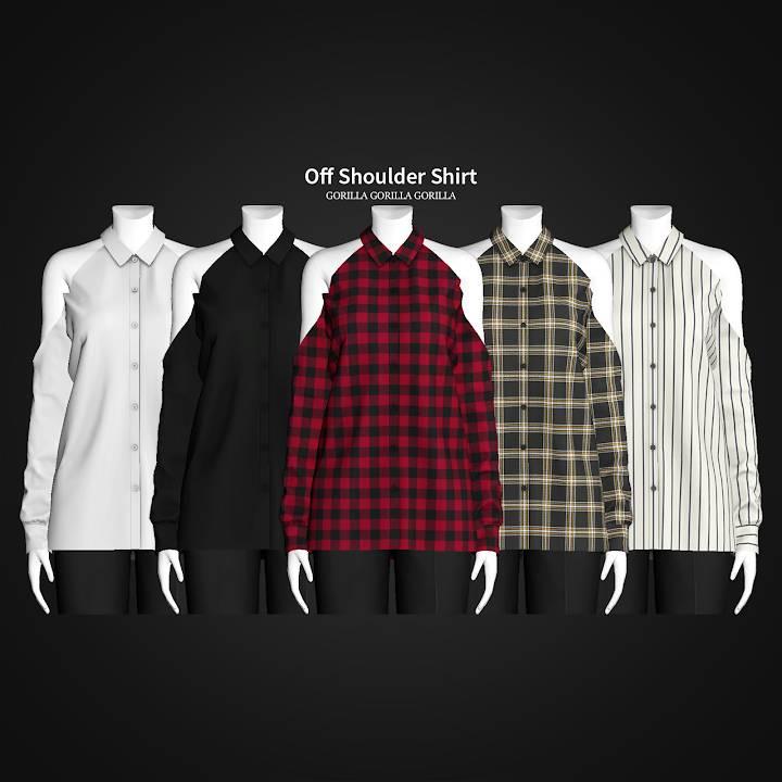 Женская рубашка - Off Shoulder Shirt