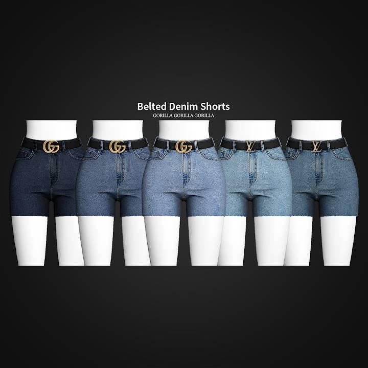 Женские шорты - Belted Denim Shorts