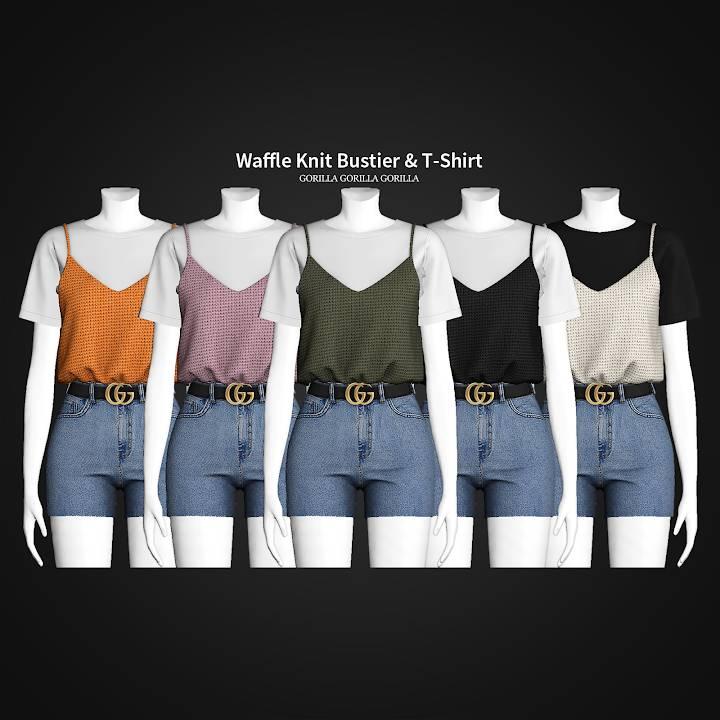 Футболка и топ - Waffle Knit Bustier & T-Shirt