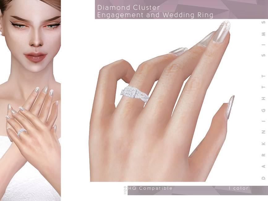Кольцо - Diamond Cluster Engagement and Wedding Ring