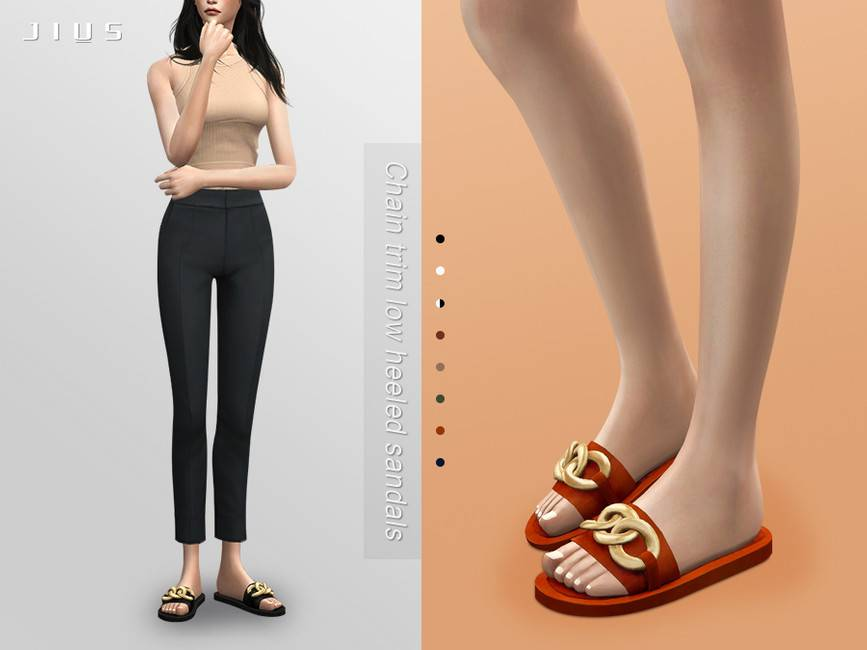 Шлепанцы - Chain trim low heeled sandals 01