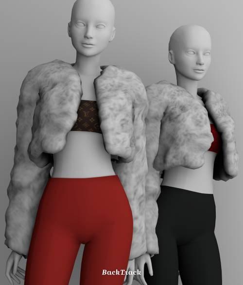 Шуба и топ - LV Tube Top with Fur Jacket