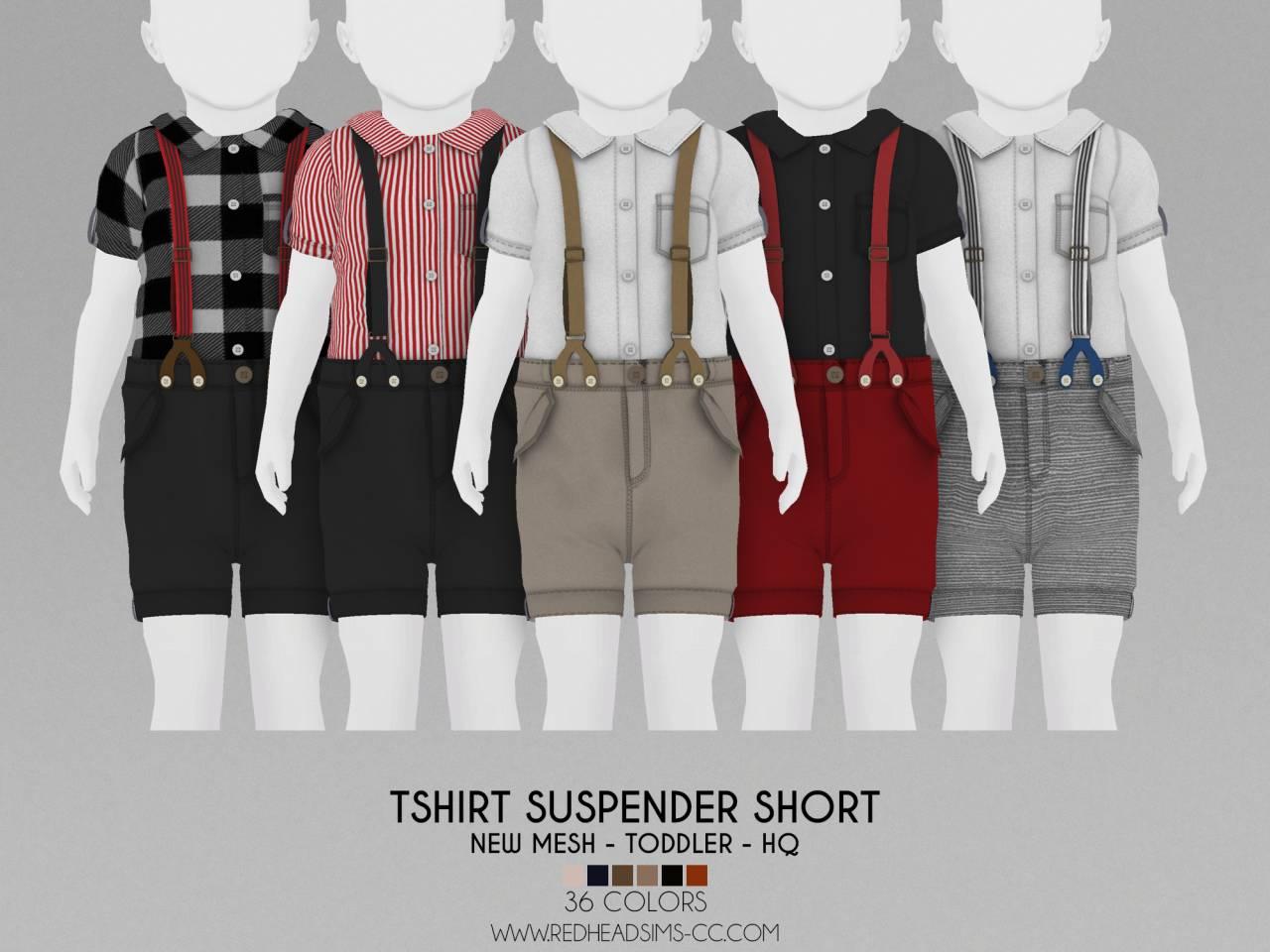 Рубашка и шорты для малышей - TODDLER TSHIRT SUSPENDER SHORT