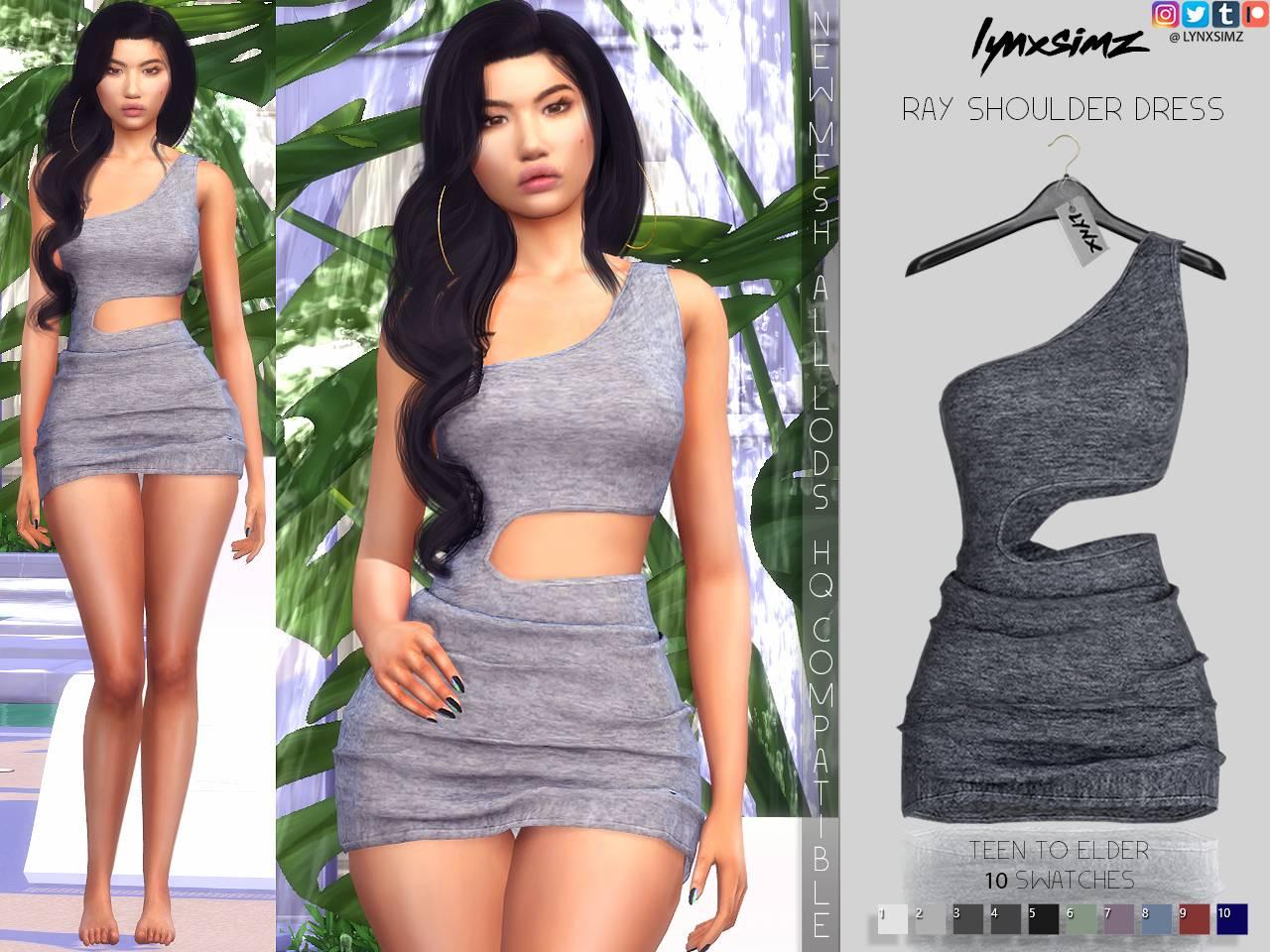 Платье - ray shoulder dress