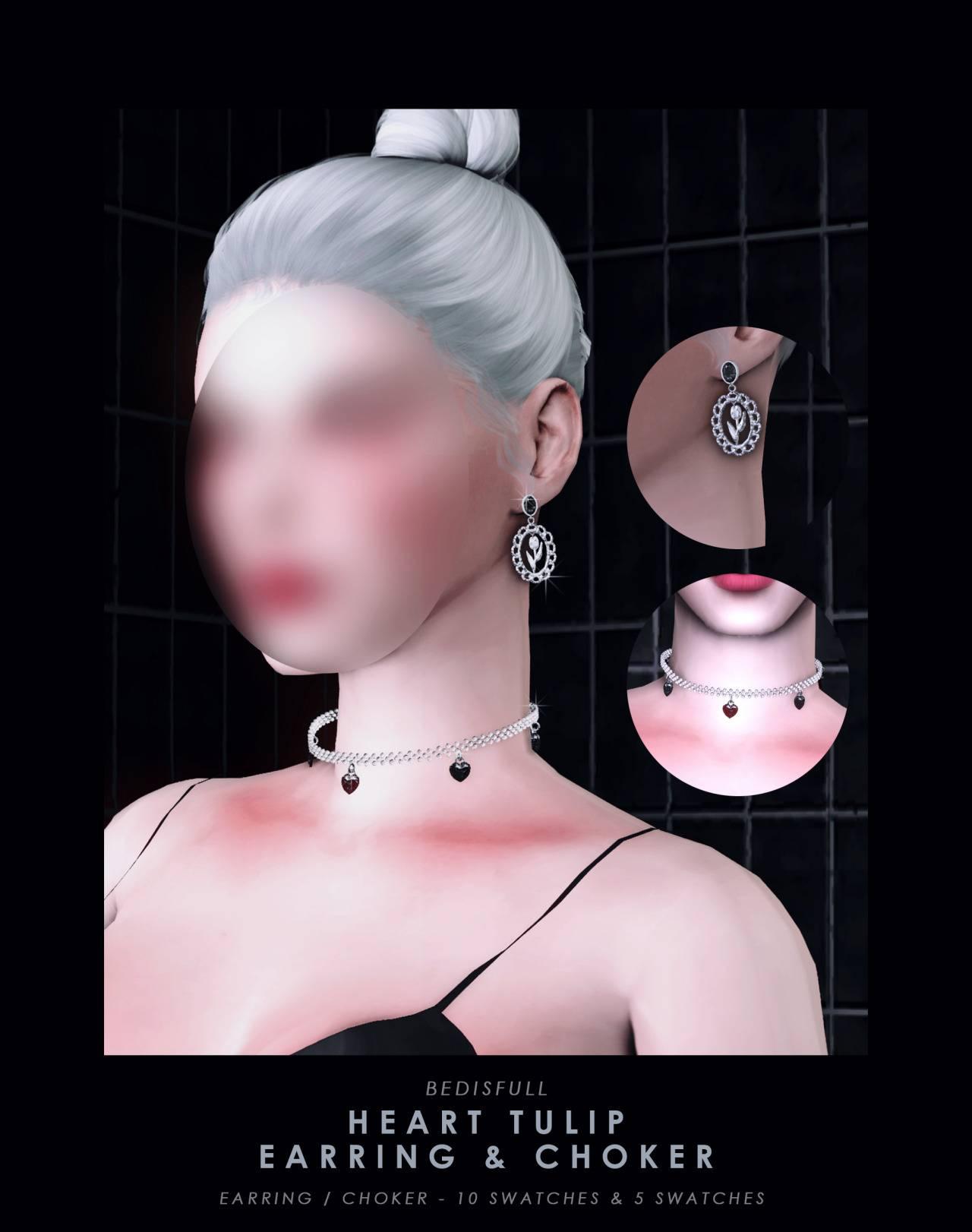 Чокер и серьги - Heart tulip earring and choker