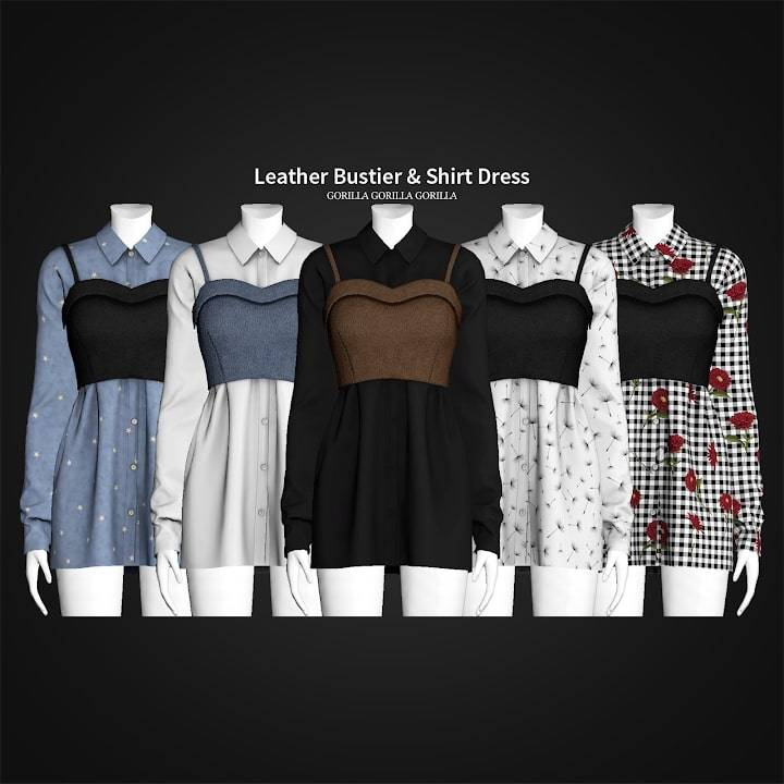 Платье и топ - Leather Bustier & Shirt Dress