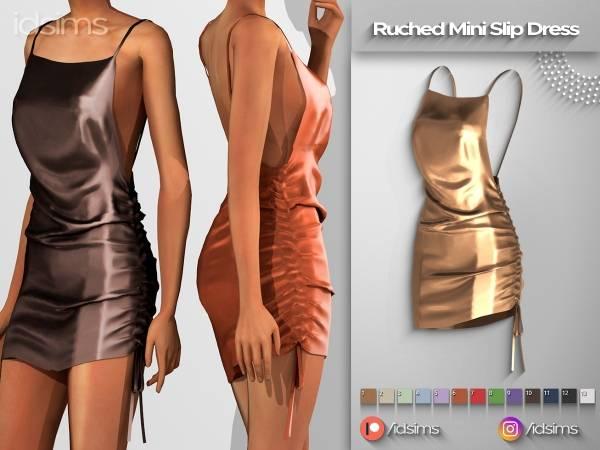 Платье - ruched mini slip dress