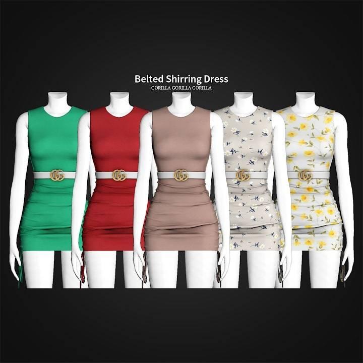 Платье - Belted Shirring Dress