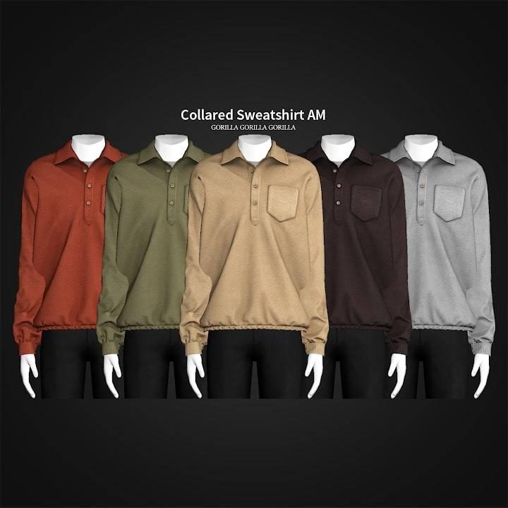 Мужская кофта - Collared Sweatshirt AM